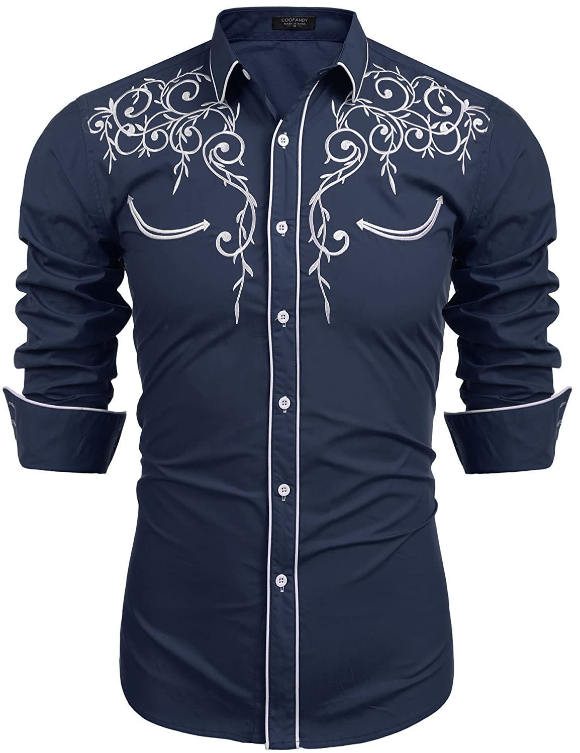 ddb52dde COOFANDY Men's Long Sleeve Embroidered Shirt Slim Fit Casual Button Down  Shirts at Amazon Men's Clothing store:
