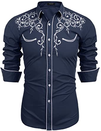 a5cdabaf COOFANDY Men's Long Sleeve Shirt Embroidery Slim Fit Casual Button Down  Shirt Small,01-