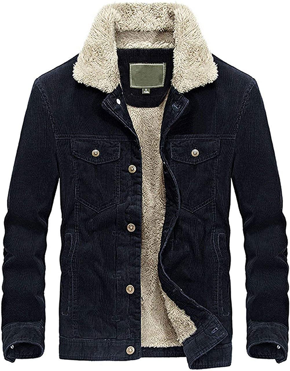 CHARTOU Mens Vintage Button-Front Slim Fit Corduroy Denim Jacket