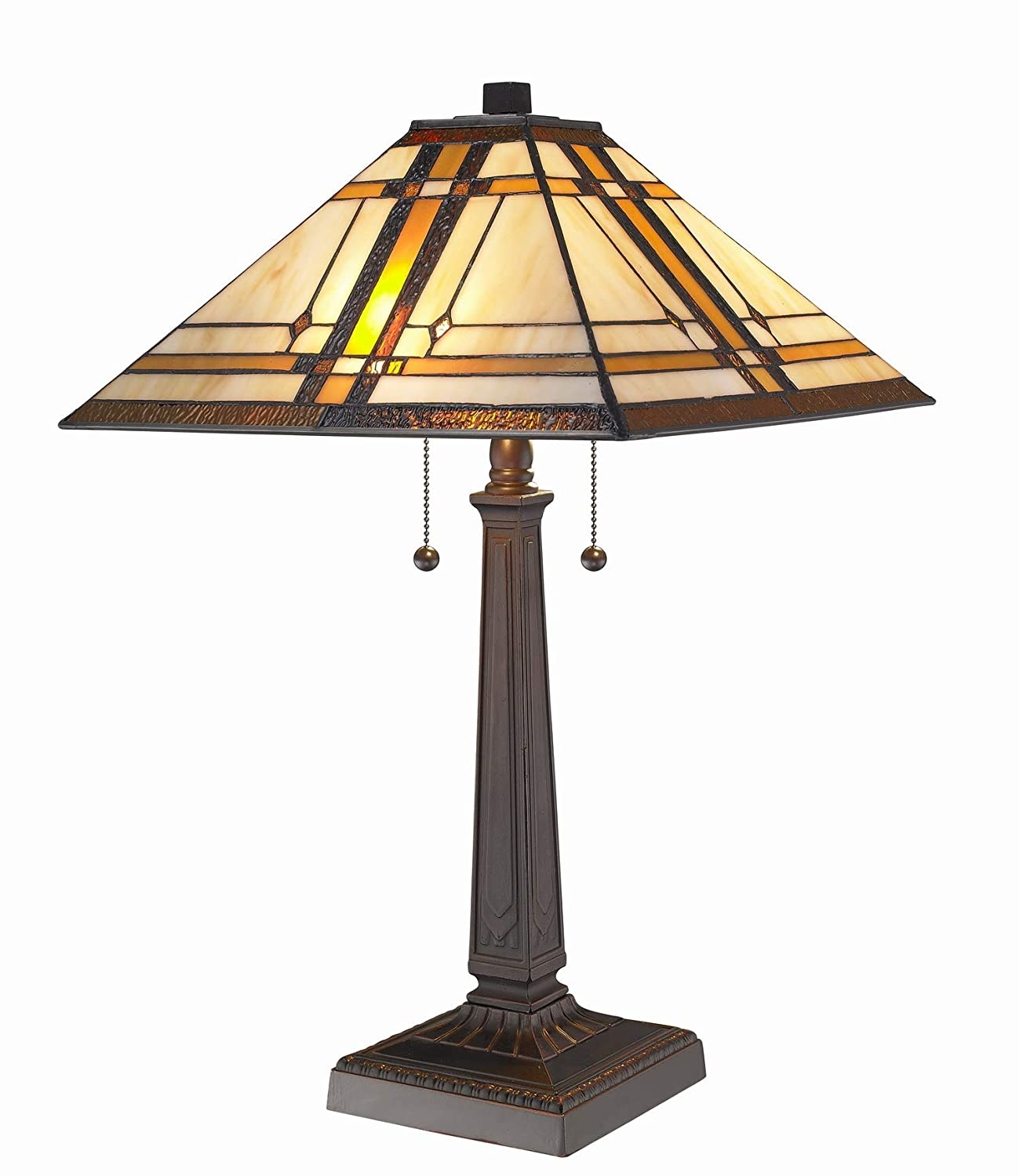 Amora Lighting AM1053TL14 Tiffany Style Mission Design Table Lamp, 14""