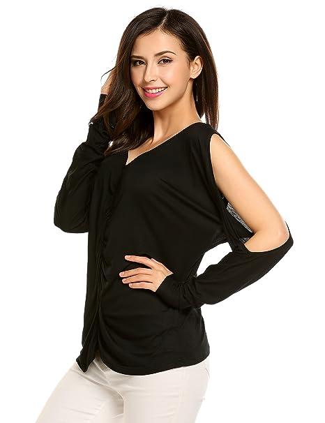 FANEO Women s Cold Shoulder Tops Long Sleeve Ruched V Neck Criss Cross Back  Blouse 621fb6653