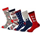 Charles Richards Men's Christmas Holidays Cotton Crew Snowman Socks 5-Pack