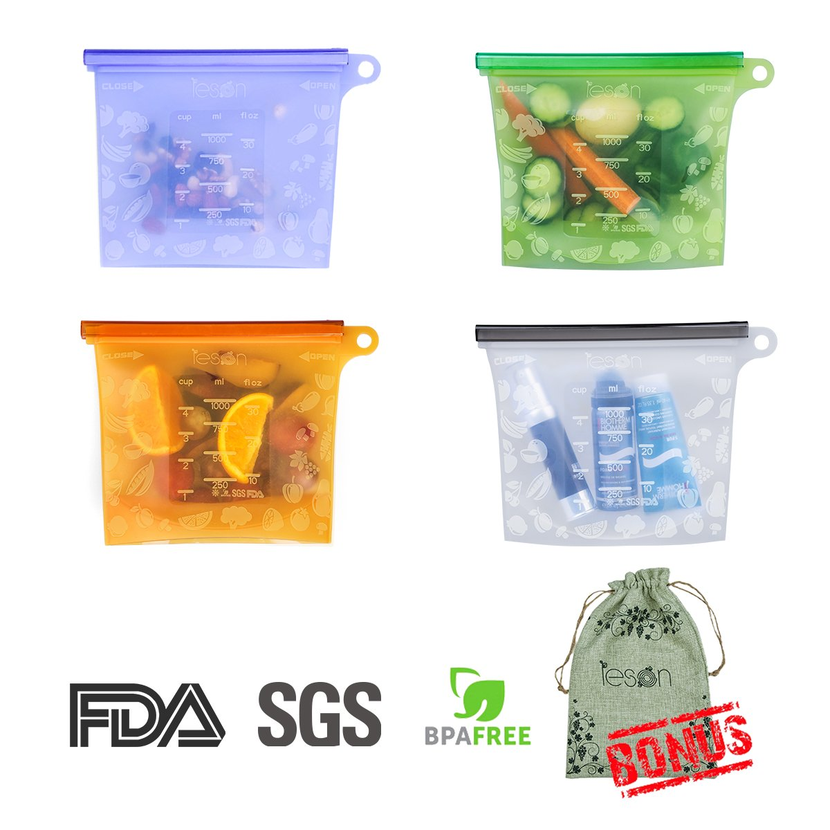 Reusable Silicone Food Bag Storage Preservation Bags Container Versatile Cooking Bag, Storing Fruits Vegetables Meat Milk for Freezer Steamer Microwave (4 Packs) by Leson