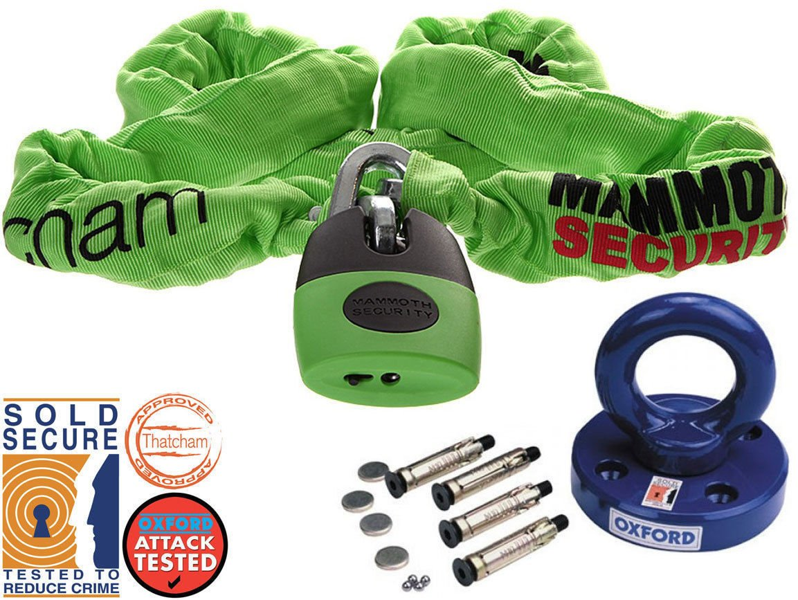 Motorcycle Motorbike Security - Oxford Rotaforce Ground Anchor + Mammoth LOCM003 Category 3 Thatcham 180cm Approved Chain Lock Best Security Deal