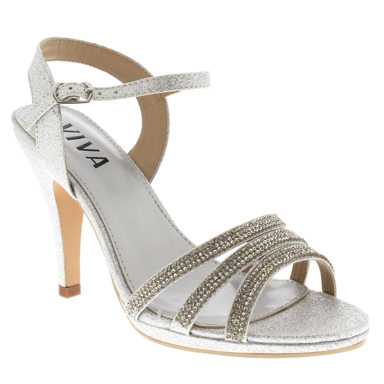 82448cc2d8184b Viva Womens Diamante Mid Heel Ankle Strap Wedding Party Evening Party  Sandals Shoes  Amazon.co.uk  Shoes   Bags