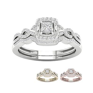 3CT Round-Cut Diamond Bridal Wedding Engagement Ring Set 10k White Gold Finish