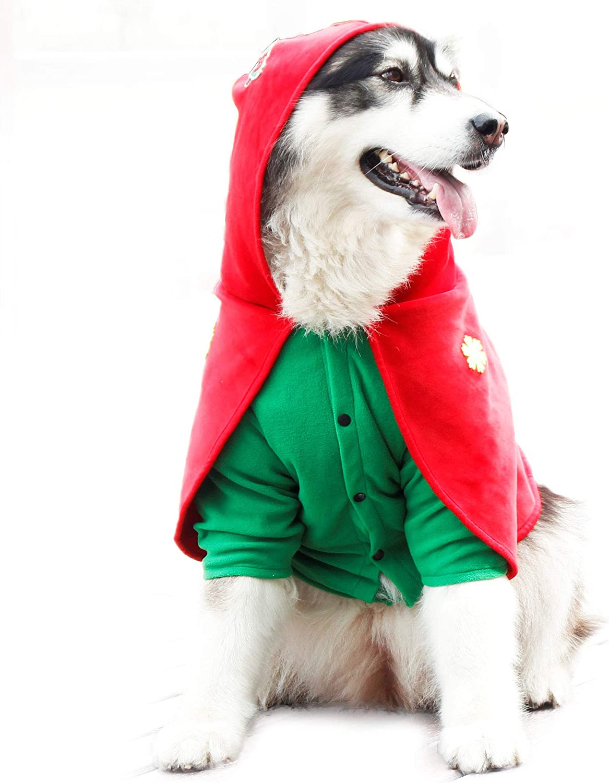 PETTOM Ropa con Capucha para Perro Gato, Abrigo con Capucha para Fiesta Navidad Halloween Cosplay, Ropa de Invierno para Cachorro Gatito Mascota,Jersey Disfraz Capa Chaqueta Sudadera con Capucha, XXXL