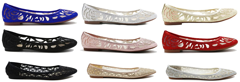 Walstar Women's Classic Pointy Toe Ballerina Walking - Slip On Mesh Flats - Walking Comfortable Closed Toe Ballet B07BL4YNMM 6 B(M) US|Black 186e4b