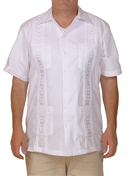 4d421e1a65 Squish Cuban Style Guayabera Shirt White  Amazon.ca  Clothing ...