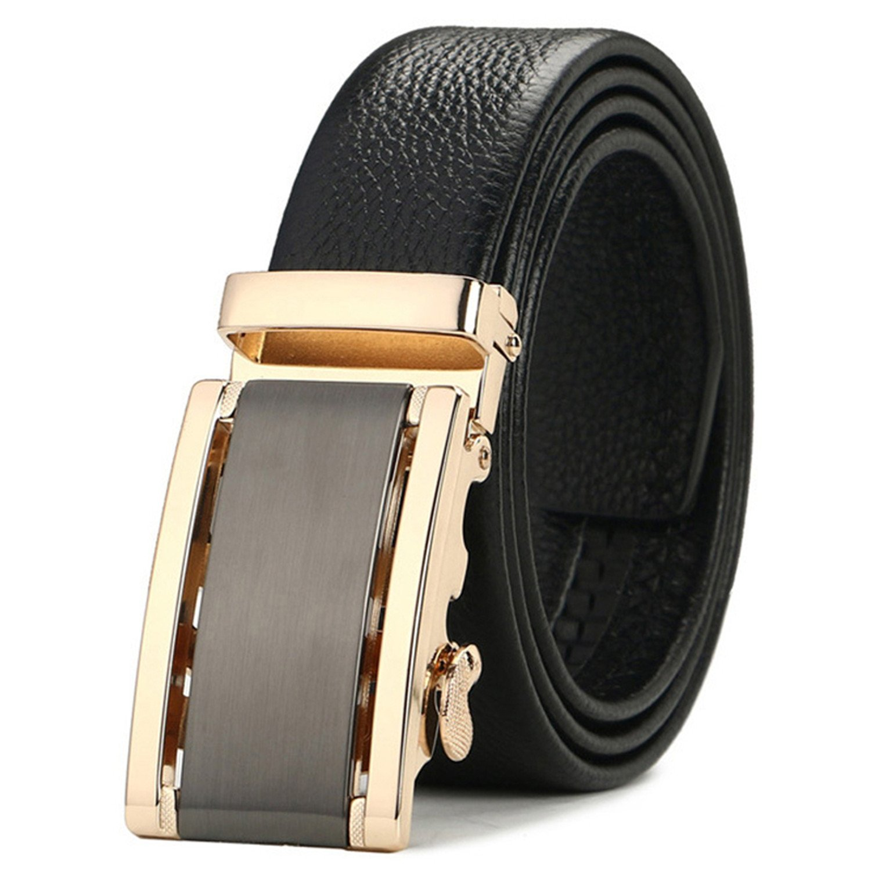 Eric Hug?Fashion?Strap Male Genuine Leather Jeans Belts For Men Luxury Automatic Buckle Cinturones Hombre Formal Simple Waist Strap Brown 115cm