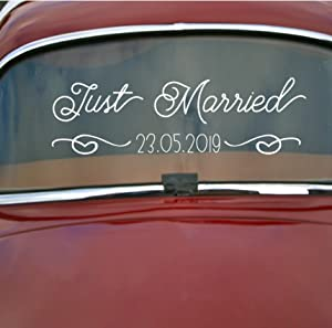 CustomVinylDecor Wedding Car Decoration | Just Married, Personalized Wedding Date, Quote Vinyl Decal | Home Decor for Newlywed Couples | Large, Small Sizes | Black, White, Red, Gold, Other Colors