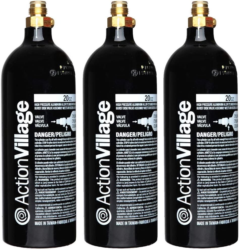 Action Village 20oz CO2 Paintball Tank - Black Aluminum