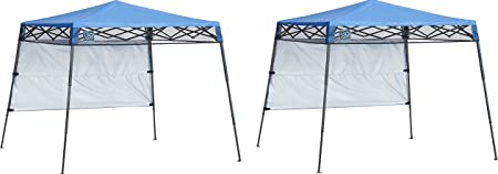 Amazon Com Quik Shade Go Hybrid Compact Slant Leg Backpack Canopy Blue 7 X 7 Foot Pack Of 2 Garden Outdoor
