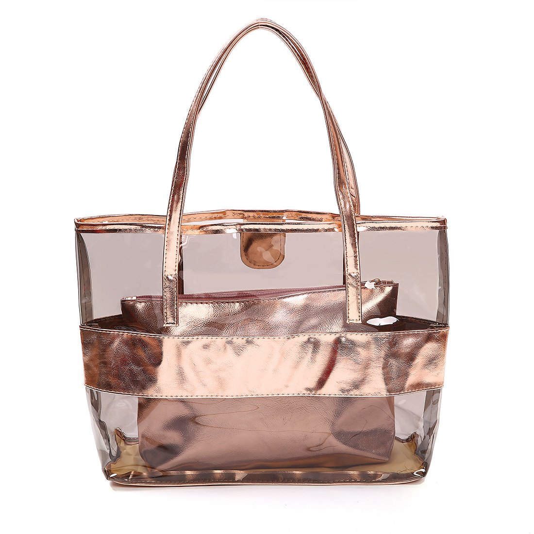 FANCY LOVE Waterprof Semi-clear Tote Stripe Beach Shoulder Bag (Rose gold)