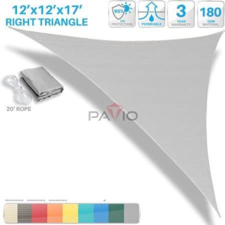 Customize Right Triangle Light Grey Sun Shade Sail Permeable Canopy Awning Cover
