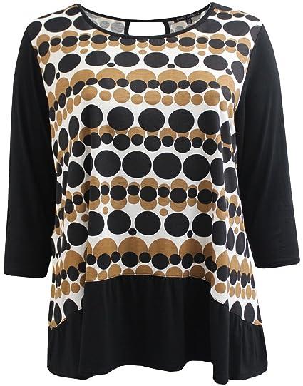 459400c6b79 BNY Corner Women s Plus-Size Polka Dot Asymmetrical Keyhole Back Fashion Blouse  Tee Shirt Knit