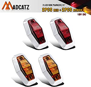 Meerkatt (Pack of 4) 2.5 Inch Mini 2 Amber+ 2 Red Clearance Side Marker Identification Light Sealed Bulb Waterproof Surface Mount Truck Trailer Motorhome Lorry Bus Super Flux LED 12v DC Universal AA12