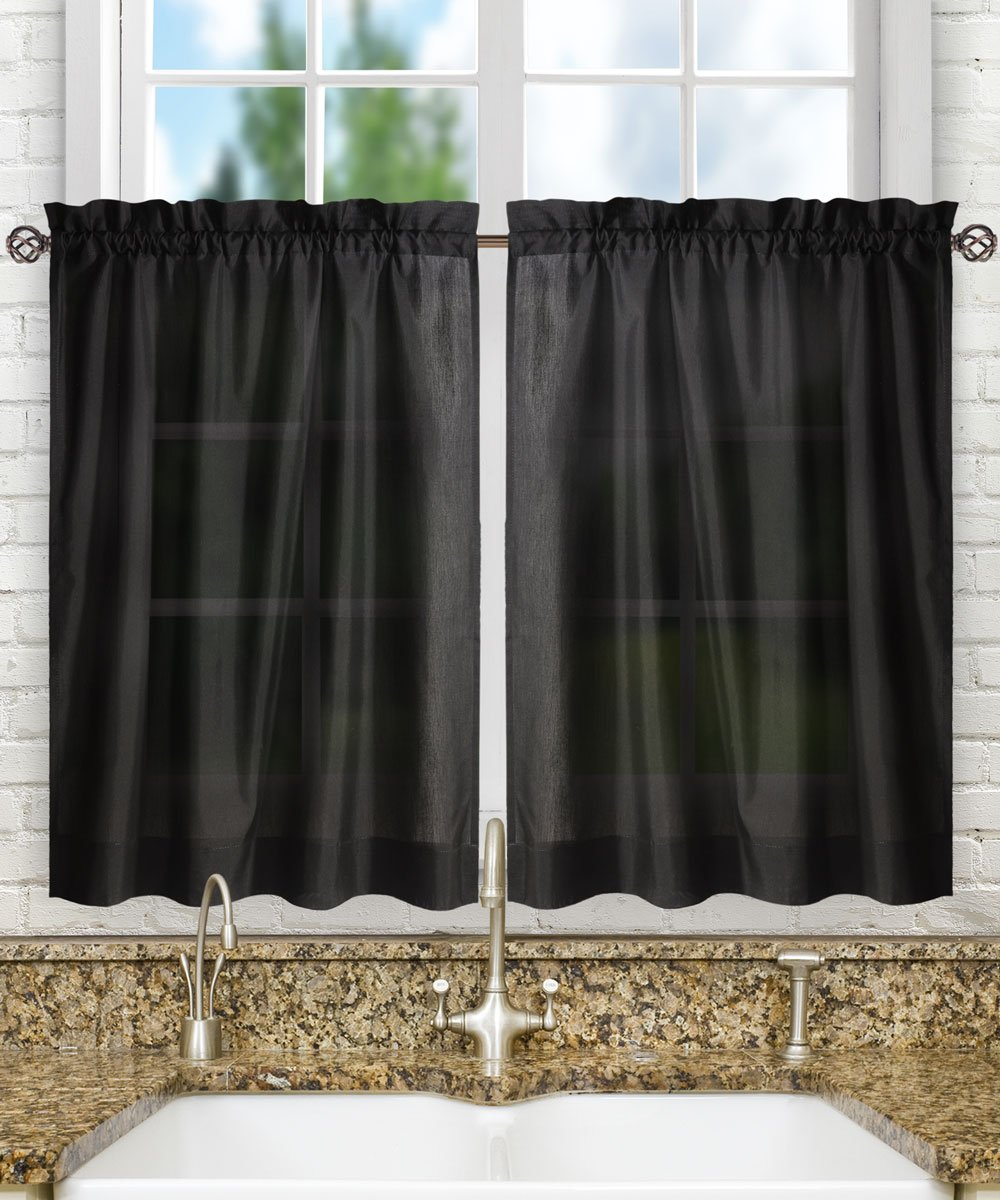 "Ellis Curtain Stacey Tailored Tier Pair Curtains, 56"" x 30"", Black"