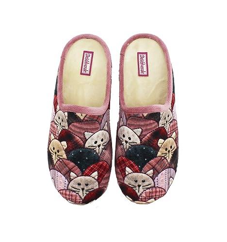 Devalverde -Chinela Mujer Estampado Gatos - Rosa, 41: Amazon.es: Zapatos y complementos