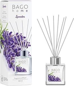 BAGO home Fragrance Oil Reed Diffuser Set - Lavender | Lavender, Jasmine & Tonka Beans Notes | 100 ml 3.4 oz
