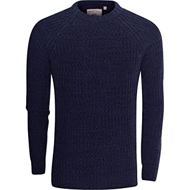 b01b6b54520cb6 Brave Soul Mens High Quality  Chunky Cable Knit  Jumper Pullover Winter  Sweater Small Blue