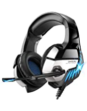 PS4 Headset, ONIKUMA Gaming headset for PS4 Xbox One PC Headphones with Microphone LED Light Noise Cancellation Over Ear Compatible with Nintendo Switch Games Laptop Mac
