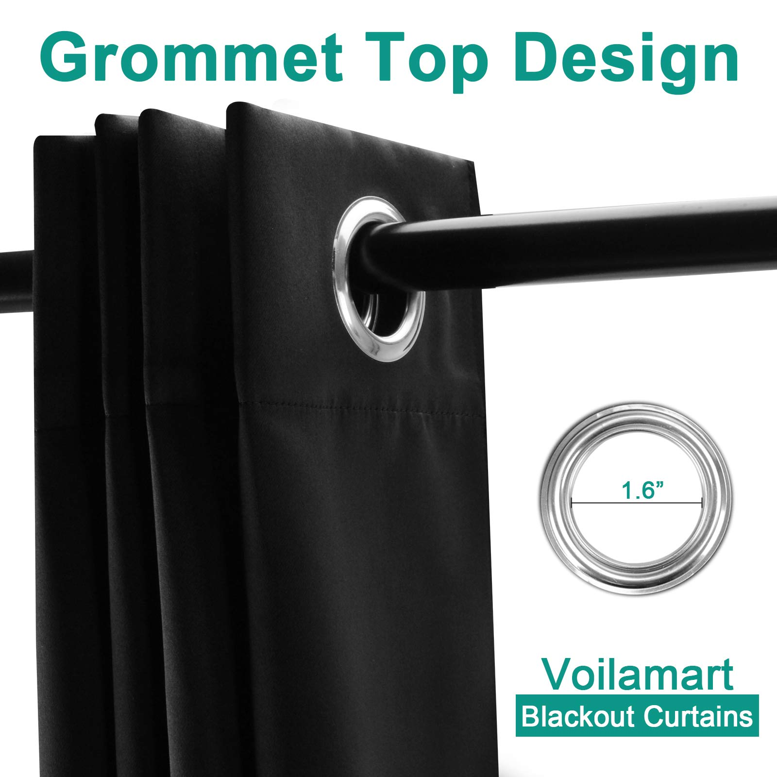 Voilarmart Blackout Curtains 52 x 63 Thermal Insulated Light Reducing Grommet Top Window Curtain Set for Bedroom, Living Room, 2 Panels - Black