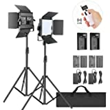 Neewer 2-Pack 2,4G LED Luz Video con Soporte de 2M Bicolor 200 SMD CRI 94 + Soporte en U Barndoor Pantalla LCD Kit…