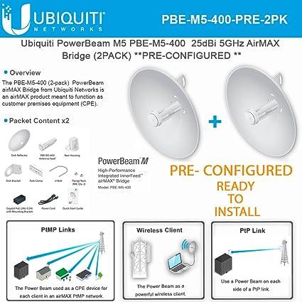 80c6d02ebbed6 Ubiquiti PowerBeam M5 PBE-M5-400 PRECONFIGURED 25dBi 5GHz AirMAX Bridge  (2PACK)