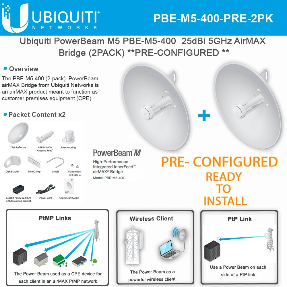 Ubiquiti PowerBeam M5 PBE-M5-400 PRECONFIGURED 25dBi 5GHz AirMAX Bridge (2PACK)