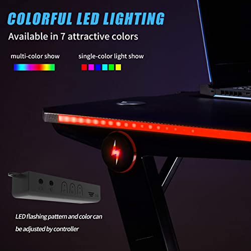 Editors' Choice: Depointer Gaming Desk LED Lights Z-Shaped Ergonomic Computer Desk Comfortable