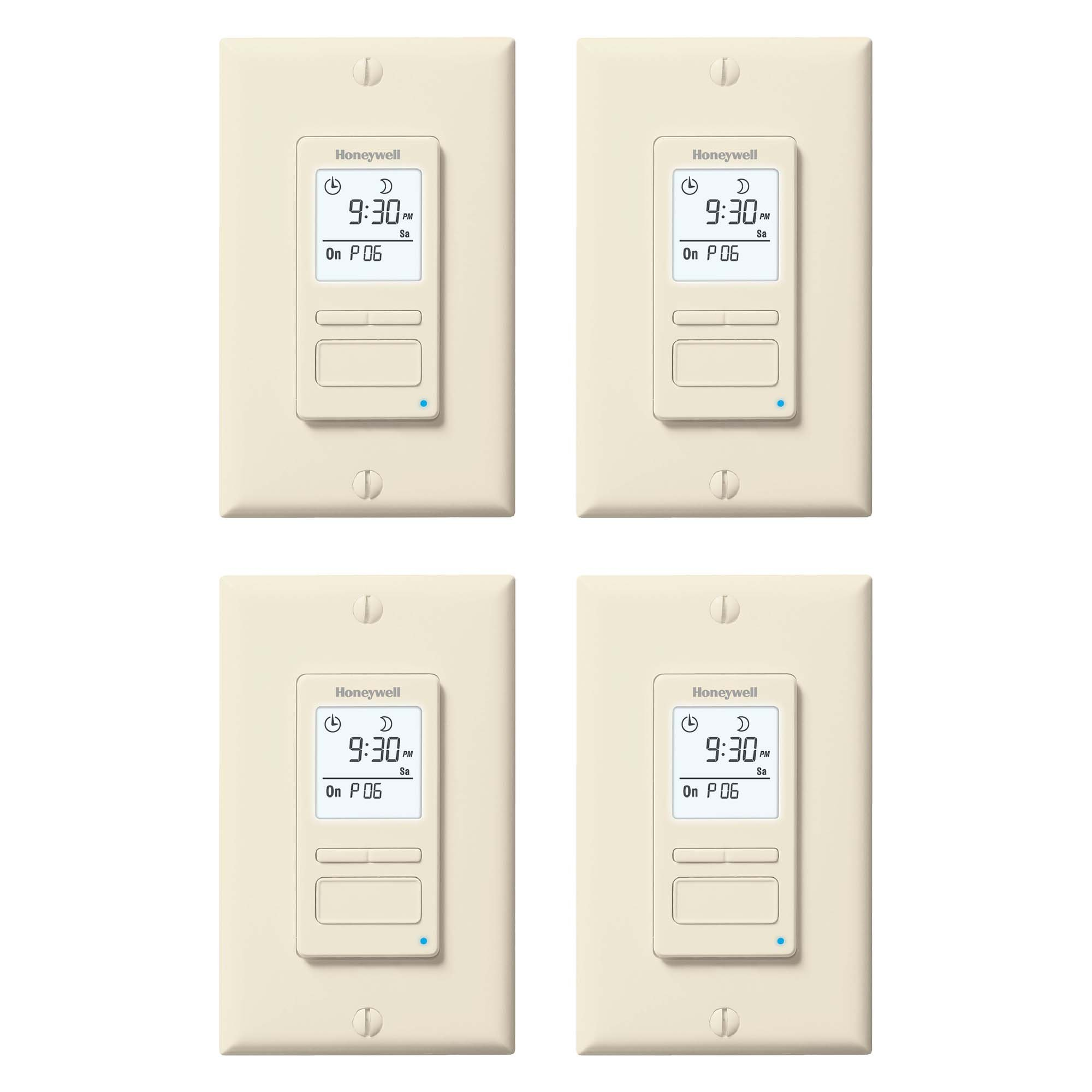 Honeywell EconoSwitch 7 Day Programmable Solar Power Light Switch Timer, 4 Pack