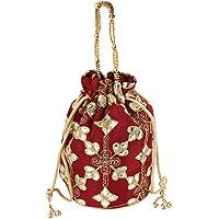 Designer Silk Embroidered Potli Bag, Pearl Handle Women's Handbag/Women's Ethnic Silk Potli Bag/Potli Purse/Bridal Wristlet