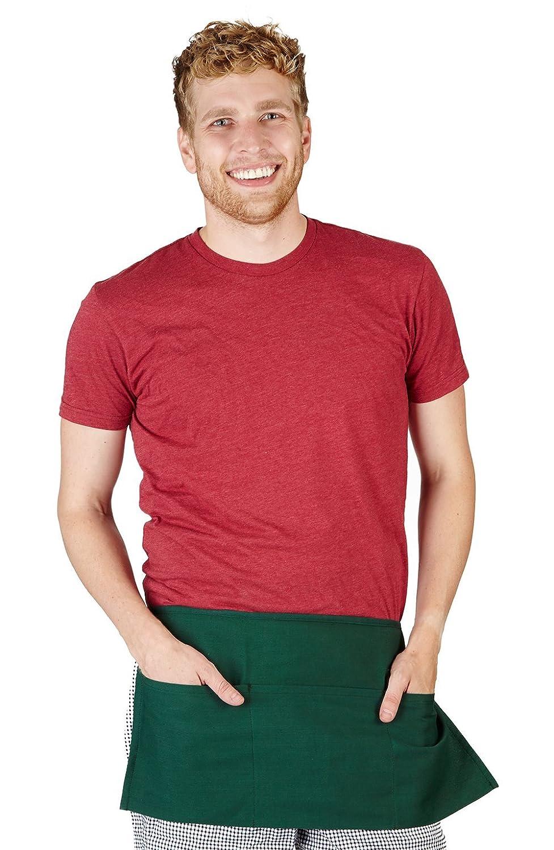 WA2108 12, Hunter Green Natural Uniforms Commercial Waist Apron-Multi-Pockets-Set of 12