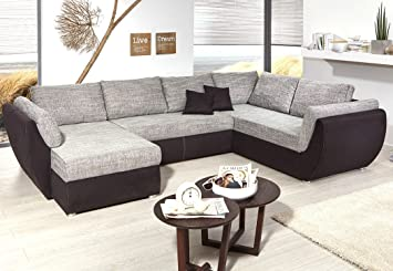 Wohnlandschaft Ontario 326x231 Cm Mikrofaser Grau Schwarz Sofa U