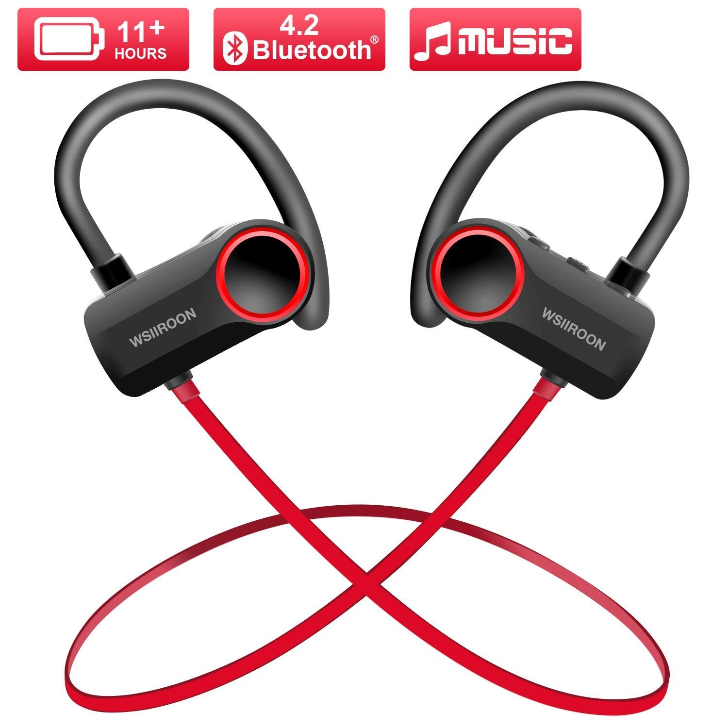 Wsiiroon Wireless 4.2 Bluetooth Headphones, Waterproof IPX7 Sport Headsets in Ear Earbuds, HD Stereo Headphones Over 11 Hrs Battery Noise Cancelling for Outdoor Exercise (Comfy & Fast Pairing) by Wsiiroon