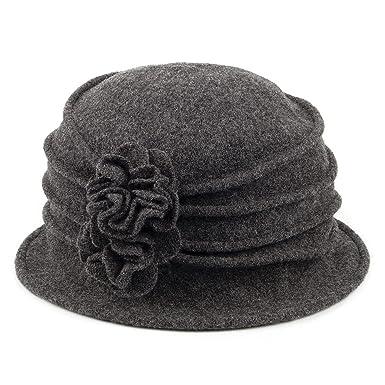 Chapeau Cloche en Laine avec Fleur anthracite SCALA - Taille unique ... 49cc87c8b98