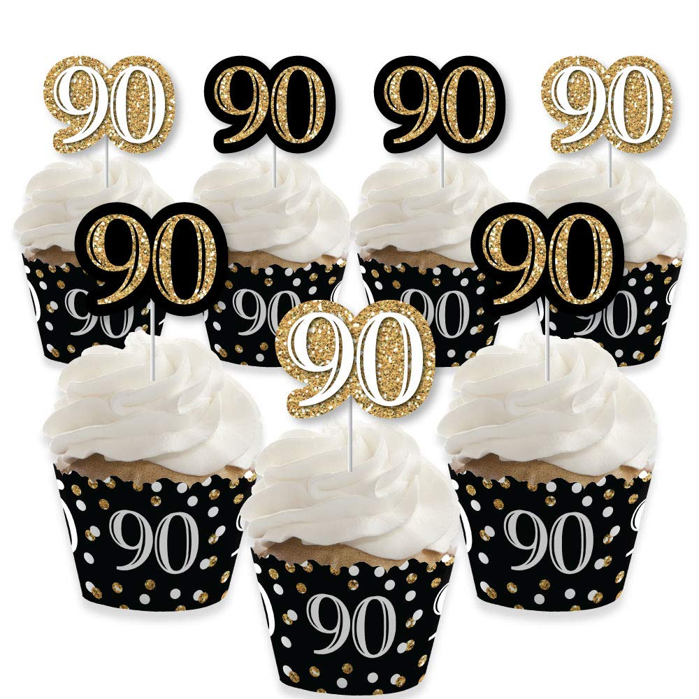 Adult 90th Birthday - Gold - Cupcake Decoration - Birthday Party Cupcake Wrappers and Treat Picks Kit - Set of 24 by Big Dot of Happiness