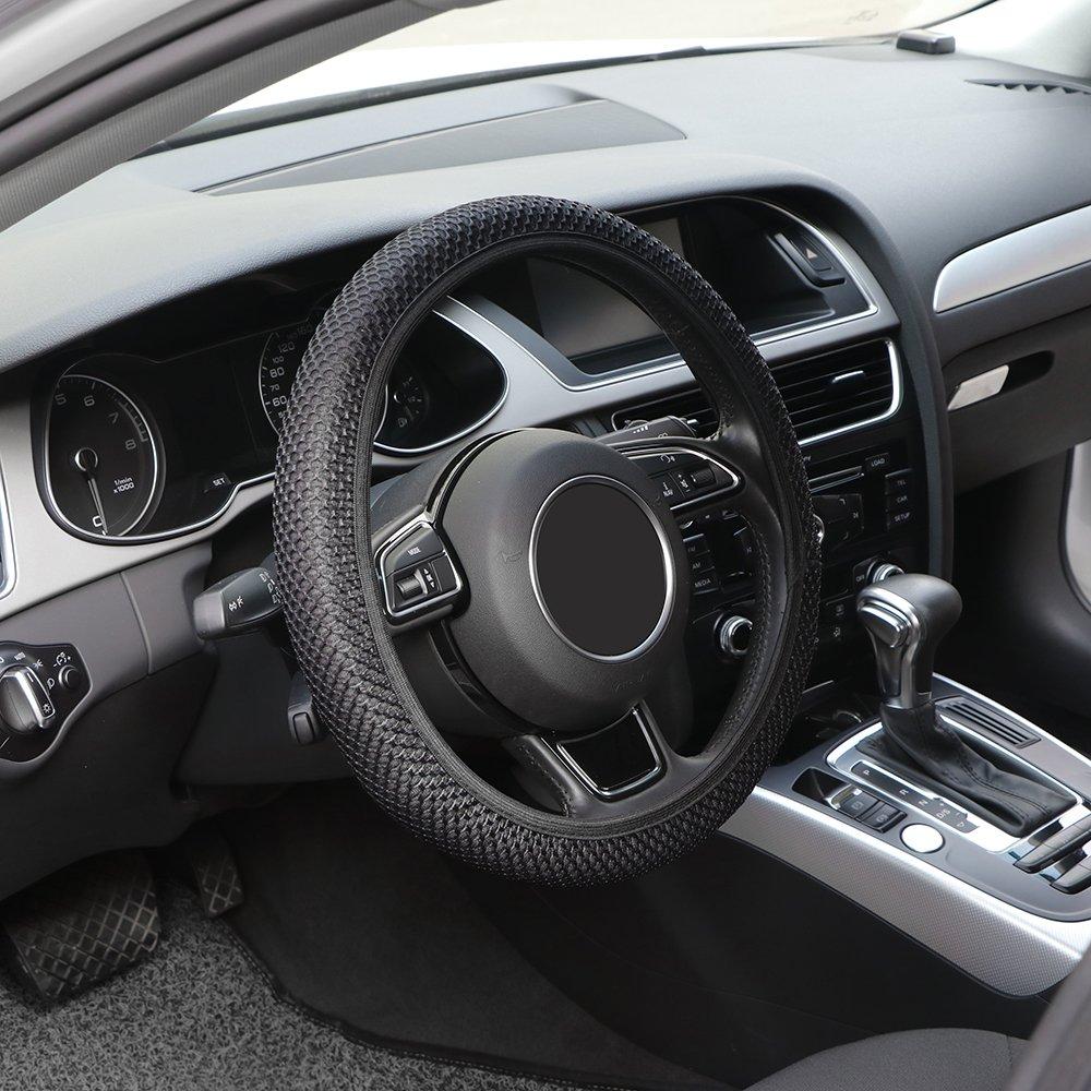 Comfort Durabilit/à Sicurezza TiooDre Coprivolante per auto Nero Universal Auto Car Mesh Tessuto antiscivolo Copertura sterzo per diametro 36-38 cm 14-15 pollici