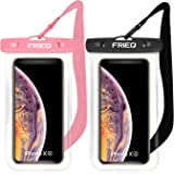 "FRiEQ Waterproof Case 2 Pack for iPhone 11 / iPhone 11 Pro Max Xs Max XR XS X 8 7 6S Plus, Samsung Galaxy S10 S10e S9 S8 +/Note 9 8, Pixel 3 2 XL HTC LG Sony Moto up to 6.5"" (Black and Pink)"