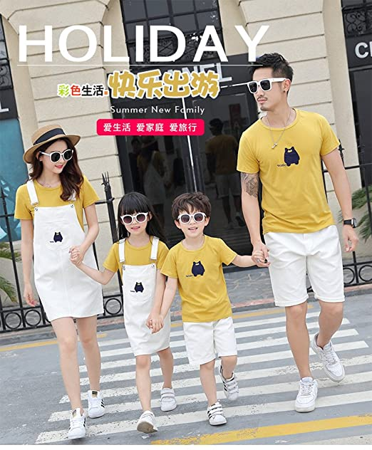 92e5f07b Family Matching Clothes Outfits Set Braces Pinafore Skater Dress T-Shirt  Shorts (Boy Size100