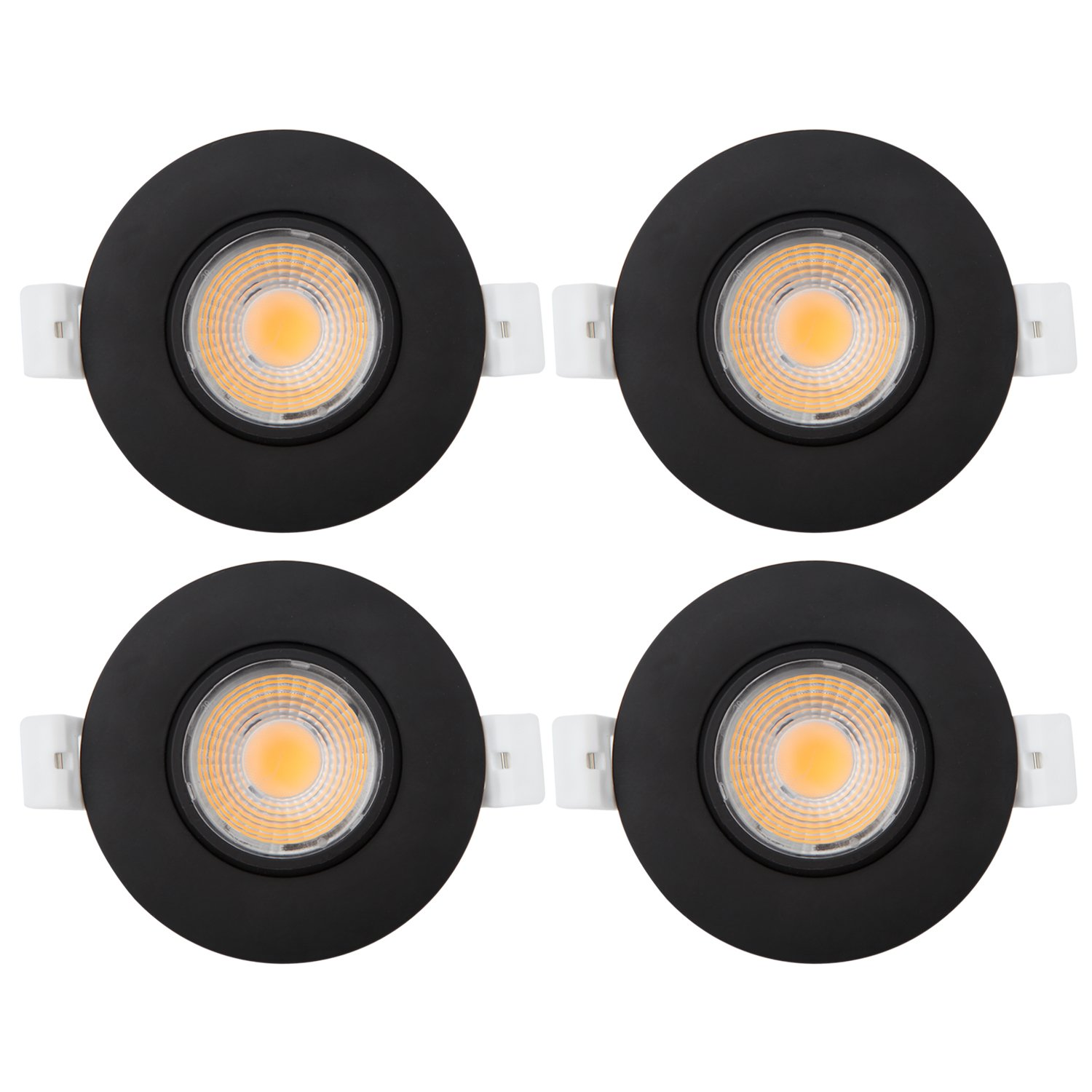 4Pack 2700K Soft Warm White, Black Led Gimbal Light 3 Inch 8W 700 Lumens IC Rated Gimbal Adjustable Recessed LED Downlight Energy Star ETL Approved