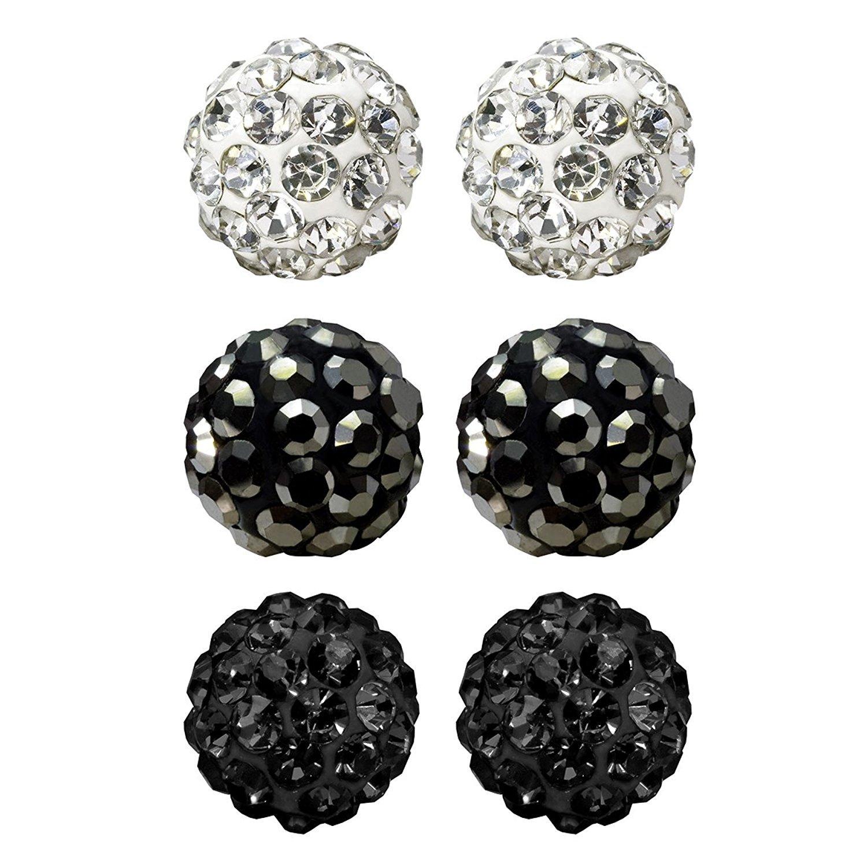 f9b1da753 Amazon.com: JewelrieShop Rhinestones Crystal Ball Stud Earrings Set  Fireball Disco Ball Pave Bead Earrings Hypoallergenic for Teen Girls Women  6mm x 3 Pairs ...