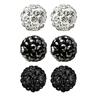 b4ae4a1a6 JewelrieShop Rhinestones Crystal Ball Stud Earrings Set Fireball Disco Ball  Pave Bead Earrings Hypoallergenic for Teen