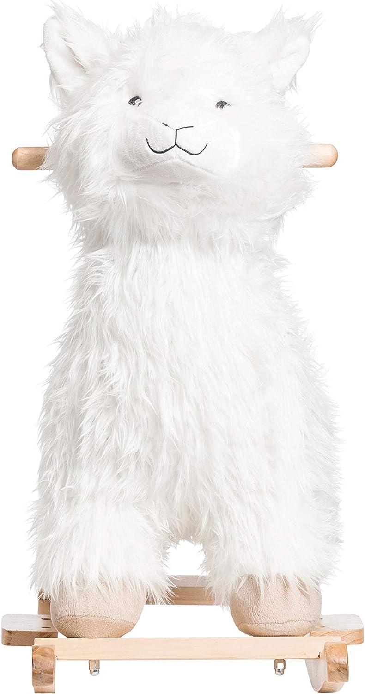 Creative Co-op Plush White Rocking Llama Toys
