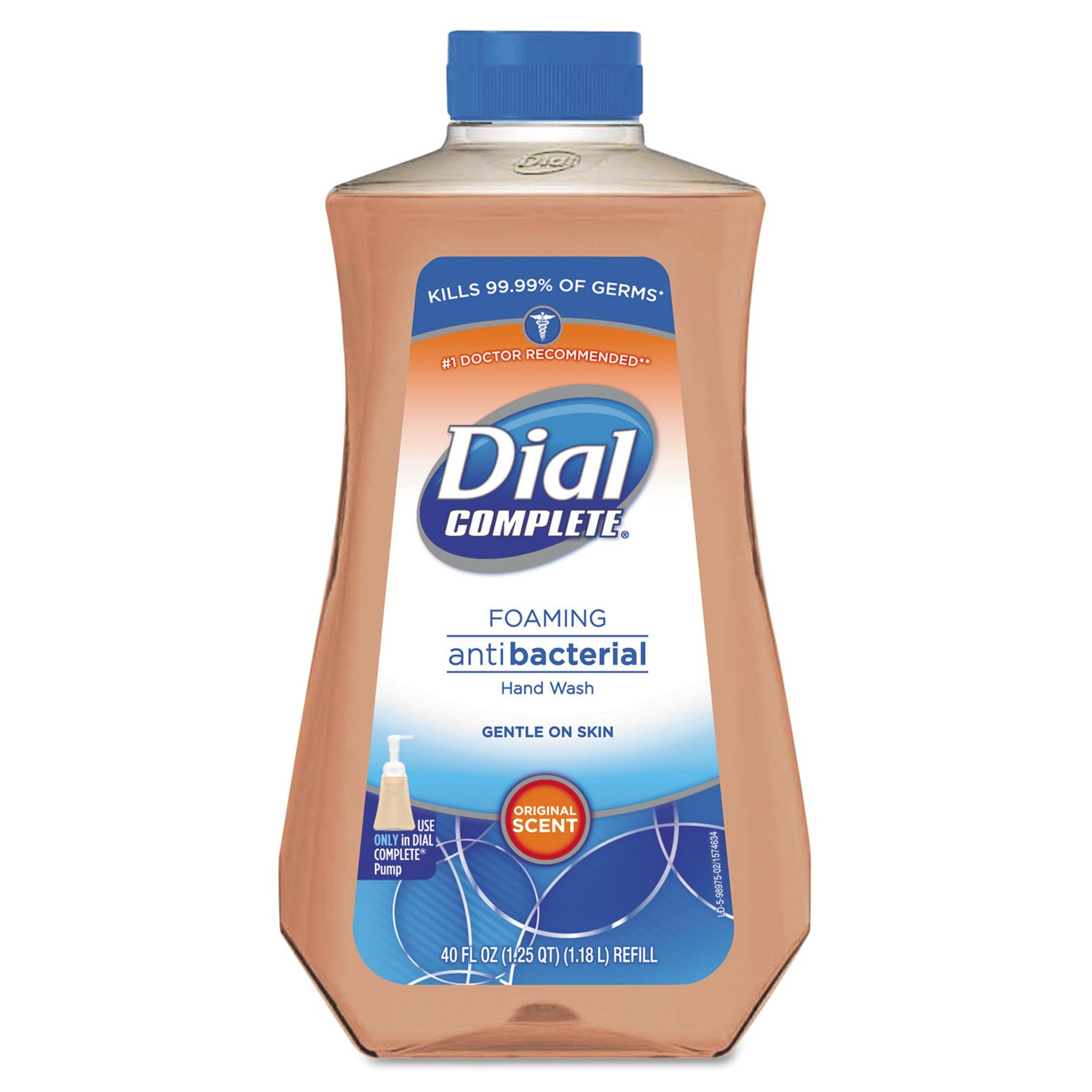 Dial Professional DIA 98976 Antimicrobial Foaming Hand Soap, Original Scent, 40 oz, Light Pink (Pack of 6)