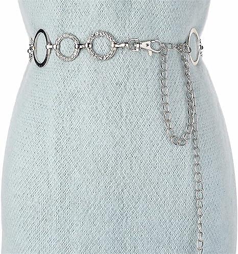 SAIBANGZI Cinturón elástico para Mujer (Metal, 130 cm)