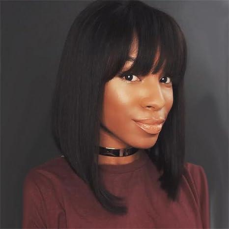 Usexy - Peluca corta negra con brazaletes para mujer negra pelo sintético recto pelucas africanas americanas