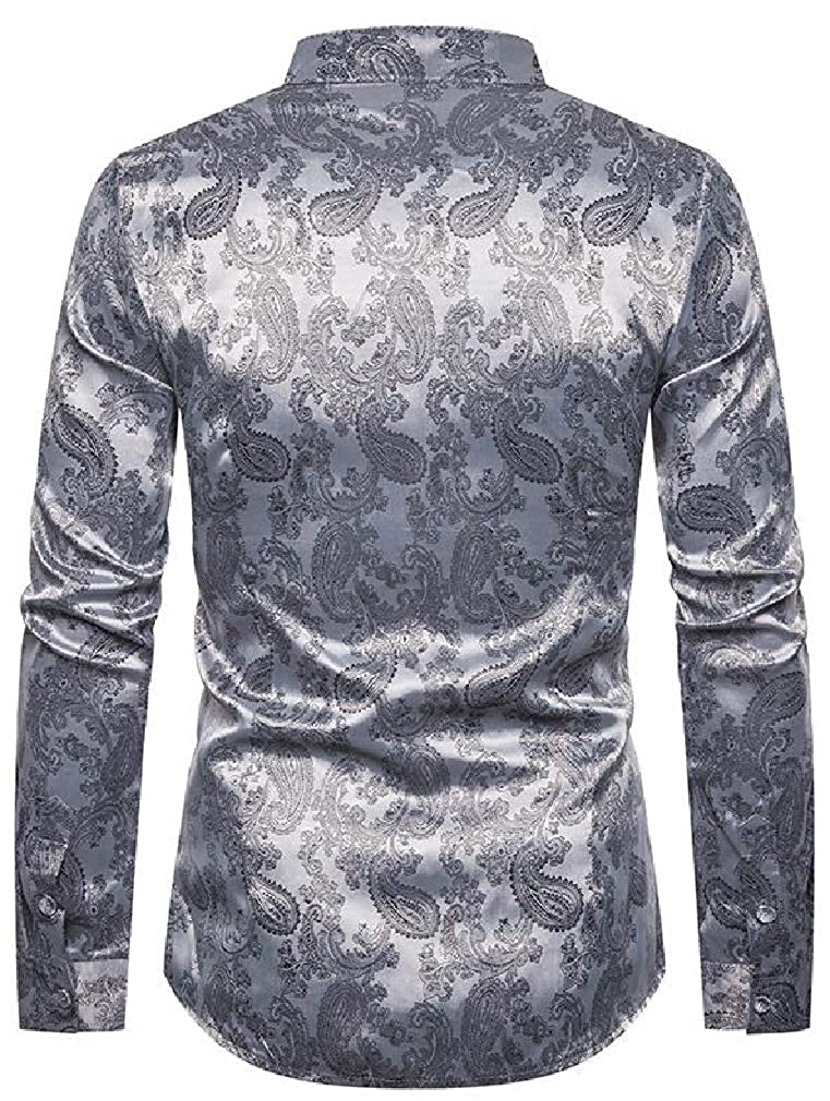 Cromoncent Mens Casual Band Collar Paisley Long Sleeve Button Down Shirts