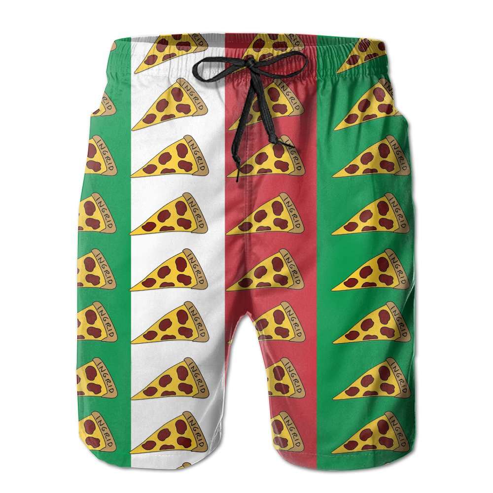 c246c3f52a Men's Quick Dry Vintage Italian Flag Pizza Beach Shorts Swim Trunks Surf  Board Shorts